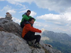 Raffaele Sebastiani and Ulrich Viertler happy on the summit of Punta del Pin