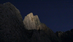 Pico Pirineos illuminated by the light of the moon.