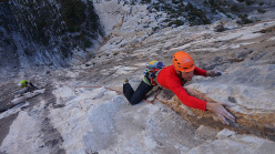 Luca Giupponi climbing pitch four of El Lobo del Desierto, Pico Pirineos, Monterrey, Mexico