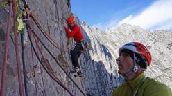 Luca Giupponi and Rolando Larcher redpointing El Lobo del Desierto, Pico Pirineos, Monterrey, Mexico