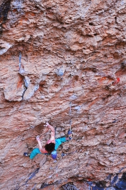 Adam Ondra climbing Stoking the Fire 9b at Santa Linya, Spain