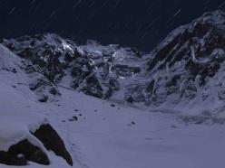 Nanga Parbat in winter, the naked mountain at night