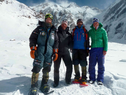 Alex Txikon, Simone Moro, Ali Sadpara and Tamara Lunger at Base Camp before setting off for the historic first winter ascent of Nanga Parbat