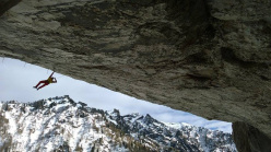Gaetan Raymond making the first repeat of A Line Above the Sky at Tomorrow's World, Dolomites