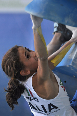 Laura Rogora competing in the 2015 IFSC Youth World Championships in Arco: Boulder Youth B