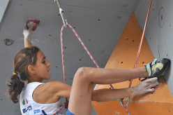 Laura Rogora competing in the 2015 IFSC Youth World Championships in Arco: Lead Youth B
