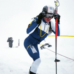 During the Tris Rotondo ski mountaineering competition in Canton Ticino, Switzerland on 28/02/2016.