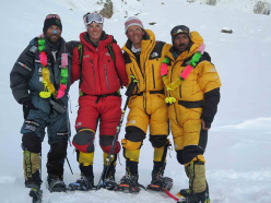Alex Txikon, Tamara Lunger, Simone Moro and Ali Sadpara safely at base camp after the historic first winter ascent of Nanga Parbat (8126m)