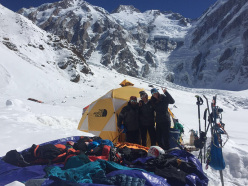 Nanga Parbat in winter: Ali Sadpara, Tamara Lunger and Simone Moro at Base Camp after the historic first winter ascent of Nanga Parbat (8126m)