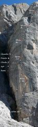 Opus Pocus (8a max, 7b+/7b oblig, 200m) Piz Seràuta, Marmolada, Dolomiti
