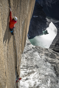 Ines Papert climbing pitch 23 of the route Riders on the Storm in Torres del Paine, Patagonia