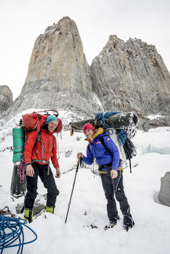 Ines Papert and Mayan Smith-Gobat descending after they have climbed the route Riders on the Storm in Torres del Paine, Patagonia.