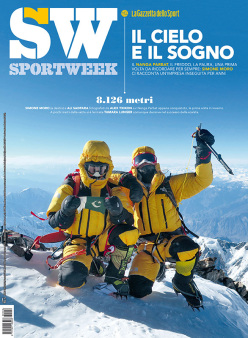 Nanga Parbat in winter: the front cover of SportWeek, with Ali Sadpara and Simone Moro on the summit