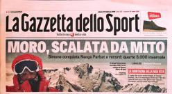 Nanga Parbat in winter: the front cover of La Gazzetta dello Sport after the historic first ascent