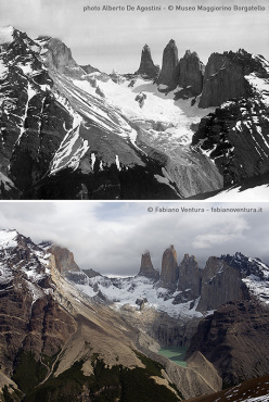Torres del Paine National Park, Patagonia: the historic photograph taken by Alberto De Agostini and the recent one shot by Fabiano Ventura