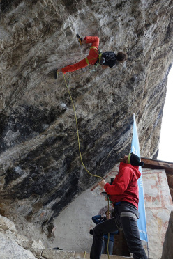 Adam Ondra climbing at Eremo di San Paolo, Arco immediately after the press conference on 07/03/2016