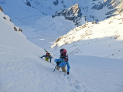 During the first ski and snowboard descent of the Voie Originale on Grande Rocheuse, Mont Blanc, carried out by Davide Capozzi, Lambert Galli, Julien Herry and Denis Trento.
