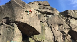 Sean McColl climbing Gaia  (E8 6c) at Black Rocks, England