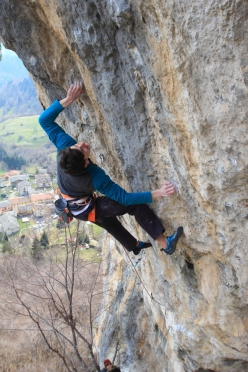 Stefano Carnati making the third ascent of Goldrake 9a+ at Cornalba, Italy, on 20 March 2016