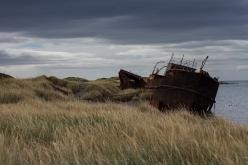 Remains of a boat at Puerto Natales, Patagonia