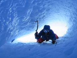 Francesco Salvaterra climbing the ice tube that leads to the summit mushroom on Cerro Torre in Patagonia
