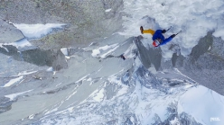 Ueli Steck, Mathieu Maynadier and Jérôme Para repeating the North Couloir Direct on Les Drus, Mont Blanc massif