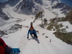 Aiguille du Moine SE Face (Mont Blanc) and the line skied by Yannick Boissenot, Nicolas Brunel, Titi Gentet and Stéphane Roguet