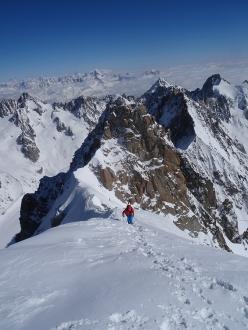 Yannick Boissenot, Marc Léonard and Stéphane Roguet and the ski descent of Voie Washburn (Les Z), Aiguille Verte North Face, Mont Blanc