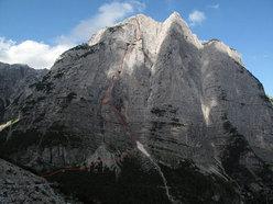 CROZ DELL'ALTISSIMO PARETE S.S.O. - CIMA N.O. Via Detassis - Giordani - VI-° 950m