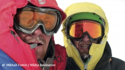 Mikhail Fomin and Nikita Balabanov during the first ascent of the NNW Spur of Talung (7349m), Himalaya, Nepal, from 18 - 25 October 2015
