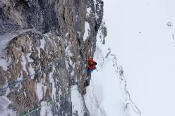 During the first ascent of Frëit dl mond (120m, M7, VI+, Aaron Moroder, Alex Walpoth 16/02/2016) Val Lasties, Dolomites
