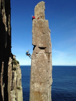 Paul Pritchard climbing the Totem Pole in Tasmania on 4 April 2016, together with Steve Monks