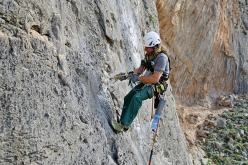 Alexandros Istatkof rebolting the climbs at Kalymnos, Greece