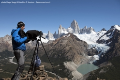 Fabiano Ventura in front of the Fitz Roy massif in Patagonia