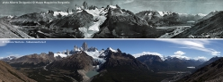 The panoramic photo taken De Agostini of the Fitz Roy skyline in Patagonia, compared to that taken by Fabiano Ventura