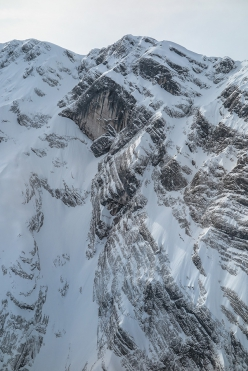 The steep approach to the Wetterbockwand, Göll NE Face, Berchtesgaden Alps, Austria where Fabian Buhl made the winter ascent of Wetterbock (8c, 10 pitches) from 17-19 March 2016