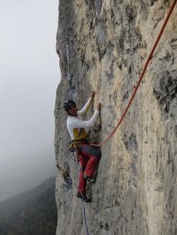 Making the first ascent of Pace in Siria (7a+, 6c+ oblig, 230m, Marco Bozzetta, Francesco Salvaterra 2016), Dain di Pietramurata, Valle del Sarca, Italy