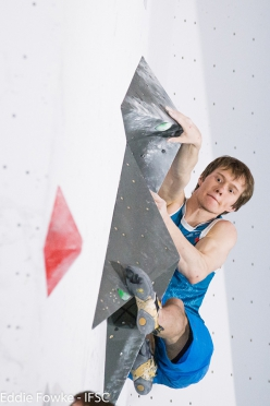 Alexey Rubtsov during the second stage of the Bouldering World Cup 2016 at Kazo in Japan
