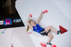 Shauna Coxsey during the second stage of the Bouldering World Cup 2016 at Kazo in Japan