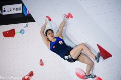 During the second stage of the Bouldering World Cup 2016 at Kazo in Japan