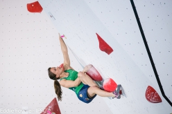 Anna Stöhr during the second stage of the Bouldering World Cup 2016 at Kazo in Japan