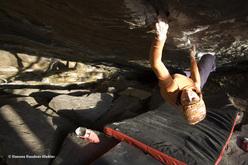 Barbara Raudner climbing Hobbygärtner Fb7c+, Kremstal, Austria