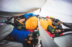 American alpinist Cheyne Lempe and Dave Allfrey making the first ascent of