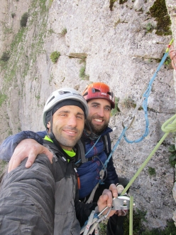 Massimo Flaccavento and Arturo Latina on the top of the pillar Pilastro Maurizio Lo Dico after having made the first ascent of Melodie mai perdute (220m, 7a+ max, 6c oblig Massimo Flaccavento, Arturo Latina) Pilastro Maurizio Lo Dico, Rocca Busambra, Sicily