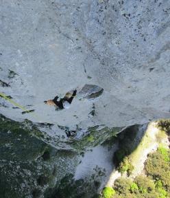 Giuseppe Barbagallo climbing the penultimate pitch of Melodie mai perdute (220m, 7a+ max, 6c oblig Massimo Flaccavento, Arturo Latina) Pilastro Maurizio Lo Dico, Rocca Busambra, Sicily