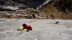 Stefan Stuflesser and Filip Schenk repeating Traumpfeiler, the famous multi-pitch sports climb at Cansla in the Dolomites.