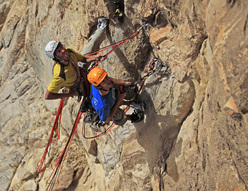 Hansjörg Auer and Much Mayr climbing together in Oman, during the first ascent of