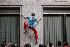 Giulio Bertola during the 5th edition of Block and Wall, the classic urban bouldering competition at Trento