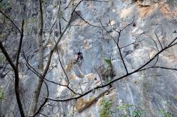 Connie Rochelle climbing at Las Bocas