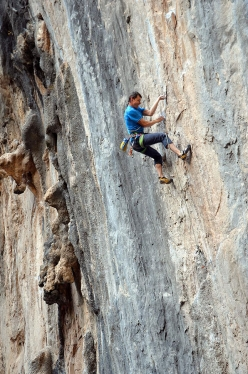 Luca Giupponi. Technical crimpy climbing at Las Animas